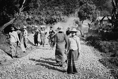Road workers (women), Golden triangle (lea.maguero) Tags: life road street trip travel white black work photography golden women triangle asia village burma myanmar burmese birmanie hsipaw