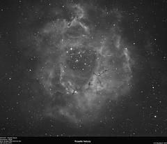 NGC2237 - Rosette Nebula (alastair.woodward) Tags: sky blackandwhite cloud abstract black texture monochrome night canon stars outside 350d mono photo outdoor budget background derbyshire border surreal nebula astrophotography goto pro astronomy rosette lunar derby cfa ngc2237 skywatcher heq5 st80 astrometrydotnet:status=solved qhy5lii 130pds debayered astrometrydotnet:id=nova1397956