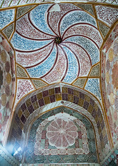 elaborate decorations of the meditation room of the tomb of shah nematollah vali, Kerman province, Mahan, Iran (Eric Lafforgue) Tags: decorations detail building history up vertical architecture persian ancient asia iran islam traditional decoration culture persia nobody ceiling architectural historic indoors dome historical iranian sight orient cultural islamic decorated mahan nematollah إيران placeofinterest иран イラン irão 伊朗 builtstructure colourpicture kermanprovince 이란 shahnematollahvalishrine irandsc07715