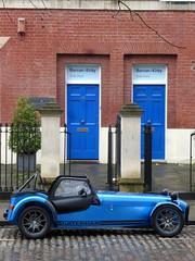 Caterham Blue (badhands13) Tags: blue car bristol doors seven british parked cobbles caterham avenuedriversclub