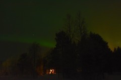 The Aurora Lights the Way. Cabin in the Woods by Teresa Cooper (tc2084) Tags: travel trees winter lake ski weather forest stars lights frozen cabin woods space astrophotography aurora cooper lapland levi teresa northern traveltourism