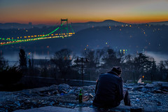 DSC04816 (Orhan Kl) Tags: morning bridge trees sea people man sunrise turkey drink outdoor colorfull istanbul bosphorus hisarst sonysel35mmf18 sonya6000