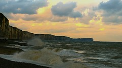 Into storm (KerKaya) Tags: sea sky seascape storm france beach water weather clouds reflections landscape outside coast seaside surf waves wind cliffs normandy kerkaya