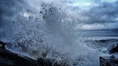 The sea crashing on the Shore @ Staithes. (ovington.kevin) Tags: ocean uk sea water still waves shot spray splash staithes iphone