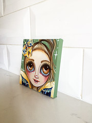 """Bejewelled Moth Fairy"" Original Painting by Jaz Higgins (Jaz Higgins) Tags: cute eye art girl fairytale big eyes doll artist surrealism jasmine moth australian surreal pop fairy fantasy faery surrealist eyed fairies higgins browneyes jaz faeries whimsical lowbrow armygreen fae bejewelled"