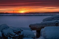 Winter Sunset (erikinlondon) Tags: winter sunset urban snow ice clouds landscape frozen sweden harbour hdr darksky lulea
