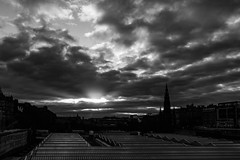 Waverley and Edinburgh Skyline at sunset (Philip Gillespie) Tags: light sunset urban bw sun white black delete10 skyline clouds delete9 delete5 photography delete2 evening scotland edinburgh delete6 delete7 delete8 delete3 delete delete4 rays gillespie philip save1 sequent sequentphotographycom