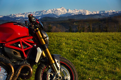 Sntis backdrop (rockymotard) Tags: monster alpes switzerland spring ducati sntis 1200s