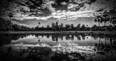 Angkor Wat (markchan0516) Tags: travel trees light sky white lake black building water monochrome architecture clouds temple cambodia angkorwat siemreap angkor