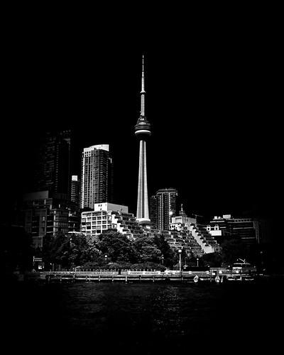 CN Tower From Bathurst Quay Toronto Canada
