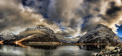 Sunndalsøra, Norway. (Remi Haugen) Tags: winter sea sky panorama cloud sun mountain snow reflection nature water colors weather norway clouds marina buildings landscape norge spring outdoor hill natur himmel formation ridge hydro fjord hdr skyer fjell landskap rockformation wideangel skie sunndalsøra sunndal visitnorway nordmøre sunndalsora