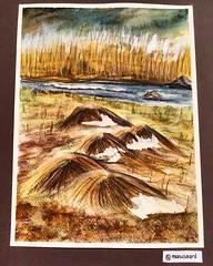 """""""Old Grass Hills"""" (marusaart) Tags: art grass watercolor painting landscape bayern artist bach watercolour gras landschaft garmisch aquarell schmincke marusaart"""