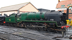 34053 at Minehead 8th March 2016 (David Cronin) Tags: somerset rebuilt minehead westsomersetrailway 462 battleofbritainclass 34053 34098 somersetanddorsetrailway templecombe sirkeithpark lightpacific springsteamgala2016
