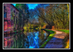 Just Around The Bend (A Digital Artist) Tags: bridge trees sky reflection water architecture canal cheshire path 1855mm hdr towpath runcorn manchestershipcanal canon1100d