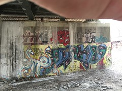 IMG_2519 (Hypurban) Tags: nyc newyork graffiti newjersey jerseycity traintracks jersey nycgraffiti urbex traintunnel underfreeway nygraffiti nygraff graffitiyards nycgraff