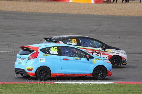 Jamie White and John Cooper in the BRSCC Fiesta Championship at Silverstone, April 2016