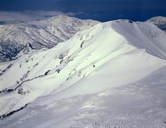 Mt.Nishishokanbetsu from Mt.Shokanbetsu (threepinner) Tags: snow ski mamiya japan spring hokkaido skiing sunny 55mm   positive f28 hokkaidou northernjapan sekor mashike m645   mountainsnaps mtshokanbetsu