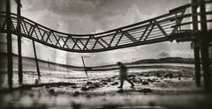 Still from a Dream - Part Two (Steven Dempsey) Tags: bridge sea blackandwhite abstract self ghost pinhole