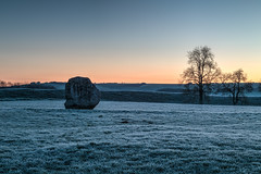 Lonestone (Ken_Jones) Tags: morning blue england sky cold standing sunrise ancient frost unitedkingdom stones gb druid avebury