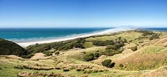 Sandstorm over Farewell Spit (loveexploring) Tags: sea newzealand panorama seascape beach landscape pacificocean sandstorm tasmansea sandspit goldenbay farewellspit pupongafarmpark