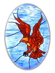 bird of prey (muffett68 ) Tags: hawk stainedglass windowdisplay oval birdofprey possibility ansh walpolema scavenger6 slidersunday picmonkey
