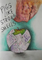 Pigs Like Strong Smells (lia.yank) Tags: money art apple pencils pig drawing strong smells