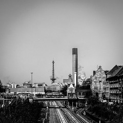 Did is Berlin wa... (stephanboblest) Tags: city bridge blackandwhite bw building berlin tower lines canon linie line stadt monochrom brcke turm funkturm gebude gleise bnw linien schwarzweis canon600d