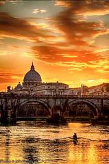 A sunset in Rome (johnfranky_t) Tags: sunset panorama roma t fiume ponte cupola tevere acqua canoa archi canottieri johnfranky jonfranky