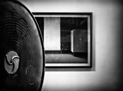 Modern Art (Anne Worner) Tags: blackandwhite bw sculpture art monochrome metal wall museum lensbaby mono artwork framed modernart olympus indoors hanging inside bergen circular metalsculpture permanenten e620 sweet35 anneworner vestlandskekunstindustrimuseeum
