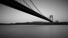 George Washington Bridge (Jemlnlx) Tags: new york nyc bridge sunset bw white ny black 30 skyline canon eos is blackwhite george washington ross dock long exposure picnic view angle zoom mark iii wide nj filter nd area jersey l 5d usm ef f4 stacked gwb graduated density neutral tiffen 1635mm gnd