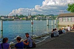 Lucerne 09 (mpetr1960) Tags: city sky people building water clouds landscape switzerland swan nikon europe cityscape waterfront outdoor eu swans lucerne embankment d800 nikond800