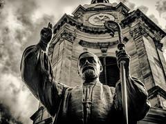 Bishop (Mac McCreery) Tags: blackandwhite clock statue cathedral bishop birminghamuk stphilipscathedral sigma1770dcmacro charlesgore pentaxk5iis