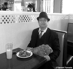 Dr. Takeshi Yamada and Seara (Coney Island Sea Rabbit) at the Seaport Buffet Chinese restaurant in Sheepshead Bay in Brooklyn, NY on May 13, 2015.  20150513 129 131=C2=BW (searabbits23) Tags: ny newyork sexy celebrity rabbit art hat fashion animal brooklyn sushi asian coneyisland japanese star restaurant tv google king artist dragon god manhattan famous gothic goth uma ufo pop taxidermy vogue cnn tuxedo bikini tophat unitednations playboy entertainer oddities genius mermaid amc mardigras salvadordali performer unicorn billclinton seamonster billgates aol vangogh curiosities sideshow jeffkoons globalwarming mart magician takashimurakami pablopicasso steampunk damienhirst cryptozoology freakshow seara immortalized takeshiyamada roguetaxidermy searabbit barrackobama ladygaga climategate  manwithrabbit