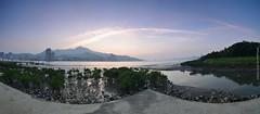 () (szintzhen) Tags: sunset sky cloud mountain water taiwan photomerge       tamsui    sunglow   zhuwei  newtaipeicity