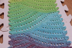 Volna Blue-Green Wave Detail (ChaucerCat) Tags: color rainbow knitting lace knit wave ombre yarn freia volna hardcandy ravelry