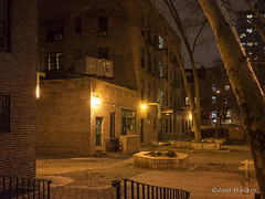 First Houses (NYCHA) (Joel Raskin) Tags: city nyc newyorkcity urban eastvillage night manhattan landmarks courtyard alphabetcity avenuea publichousing apartmentbuildings nycha newyorkcityhousingauthority e3rdstreet firsthouses