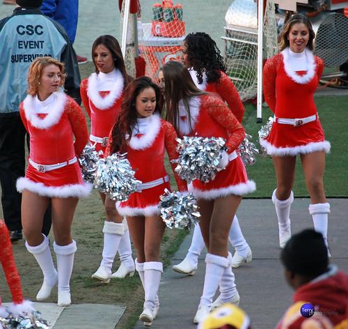 Redskinette Cheerleaders in Christmas outfits.