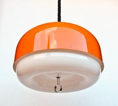 Large Vintage Space Age Ceiling Lamp / Atomic Pendant Lamp / 70's Retro Home Decor / Meblo Guzzini (orangem6) Tags: lighting light orange white lamp space ceiling retro age era atomic pendant guzzini iguzzini meblo