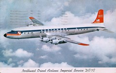 DC-7C, Northwest Orient Airlines (SwellMap) Tags: architecture plane vintage advertising design pc airport 60s fifties aviation postcard jet suburbia style kitsch retro nostalgia chrome americana 50s roadside googie populuxe sixties babyboomer consumer coldwar midcentury spaceage jetset jetage atomicage