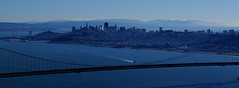 (xtaros) Tags: sanfrancisco city bridge blue panorama water skyline dawn boat horizon bridges goldengatebridge baybridge oaklandbaybridge xtaros