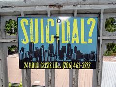 Sign on bridge, Seattle (dckellyphoto) Tags: seattle bridge sign washington washingtonstate crisis suicidal