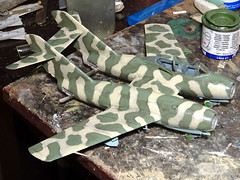 1:72 Atanasov ' (Bliznak)' BAMiG-15MT, aircraft '38 White' of the 3rd Squadron, 22nd Fighter Air Regiment, Bulgarian Air Force ( ), Bezmer Air Base, summer 1964 (Whif/Hobby Boss kit bashing) - WiP (dizzyfugu) Tags: boss cold weird model war fighter mt force conversion aviation air twin nuclear hobby bulgaria kit bomber fictional bulgarian whatif modellbau mig15 zwilling vk1 fagot bliznak whif tolbukhin bezmer atanasow atanasov  dizzyfugu  iab500