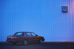 Always Last to Leave (JasonCameron) Tags: abstract lines car metal twilight parking spot simple 1980s corigated