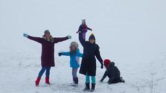 The Happy Snow Crew (spablab) Tags: elkhorn wisconsin ruth stella sophie julian sonya lake frozen pentax wg3