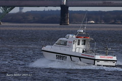 White Osprey survey boat on the river mersey at West Bank, Widnes, Cheshire, England. (bm1551cc) Tags: bridge white west water canon river lens boat cheshire bank rail miller barry l f56 survey mersey osprey widnes 400mm halton