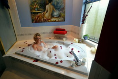Relaxing in the tub... (TravelsAlotCouple) Tags: roses me window nude bat bubbles tub topless blonde bathtub suds