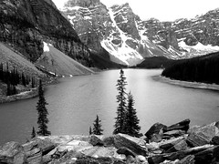 Moraine Lake (alice_winkler) Tags: bw lake canada water landscape alberta rockymountains banffnationalpark morainelake