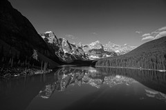 Moraine Lake (ryan.kole32) Tags: travel trees blackandwhite snow canada nature monochrome beauty clouds forest reflections landscape rockies outdoors nationalpark hiking alberta banff rockymountains mirrorimage banffnationalpark morainelake banffalberta beautyinnature morain canadianrockie
