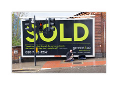 Sold on Sax (Explore 12.3.16), West London, England. (Joseph O'Malley64) Tags: trafficlights station tarmac concrete crossing sold gradient streetfurniture busker busking saxophone hump brickwork incline mainroad streetmusician saxophonist advertisinghording