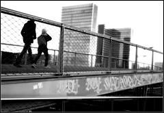 Father & son / Passerelle simone de beauvoir / BNF (lhoteln) Tags: bridge white black paris france de noir afternoon father son promenade bibliothque franois blanc aprsmidi fils pre nationale passerelle beauvoir mitterand simonde
